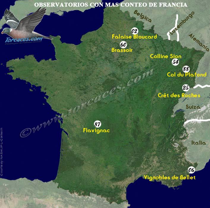 mapa de observatorios mas importantes de francia de conteo de paloma torcaz